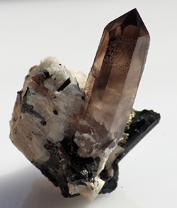 AAA Smoky Quartz on Albite Aegerine