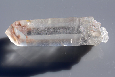Clear Quartz crystal with Red Iron