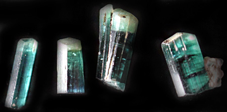 Four Indicolite Blue Tourmalines