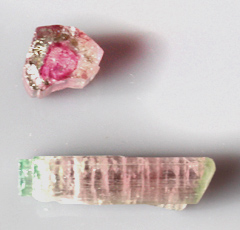 Pink and Green Tourmaline pair